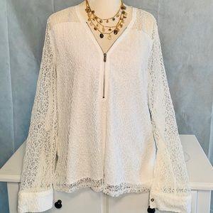 Calvin Klein White Mesh Zip Up Collar Blouse.